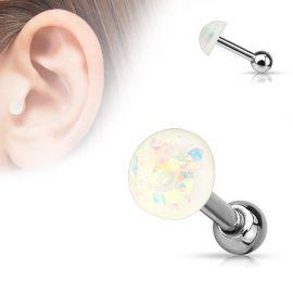 Piercing cartilage dôme opale blanc