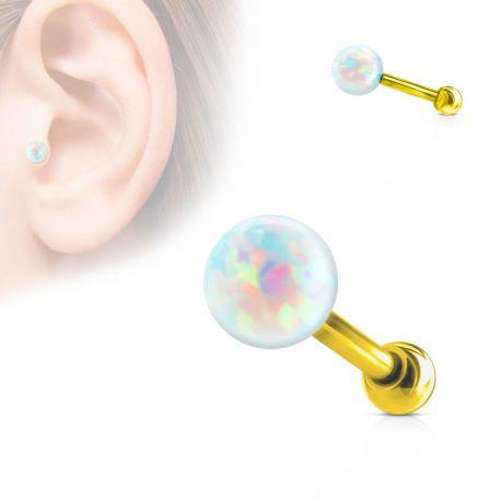 Piercing cartilage doré opale