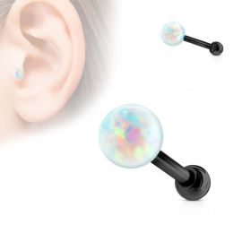 Piercing cartilage noir opale