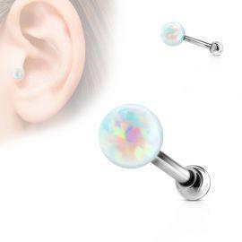 Piercing cartilage argenté opale
