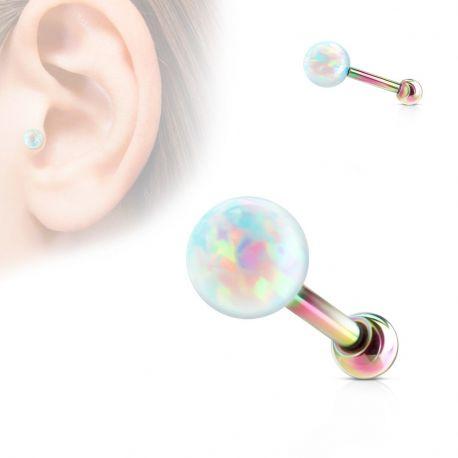 Piercing cartilage multicolore opale