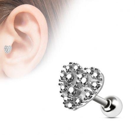 Piercing cartilage cœur pavé blanc