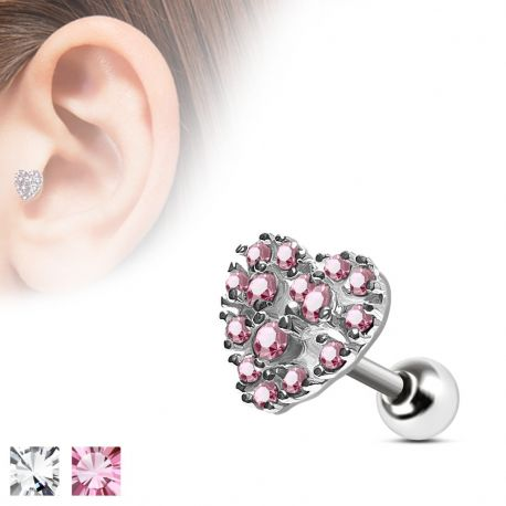Piercing cartilage cœur pavé rose