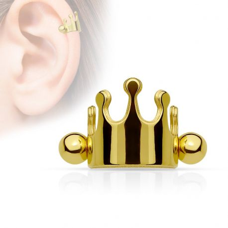 Piercing cartilage couronne doré