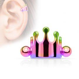 Piercing cartilage couronne multicolore