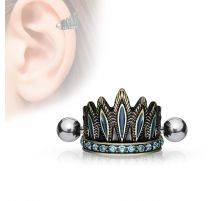 Piercing cartilage coiffure chef indien antique turquoise