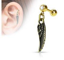 Piercing cartilage pendentif aile d'ange doré
