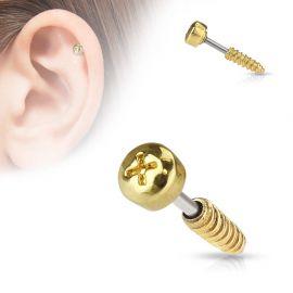 Piercing cartilage vis dorée