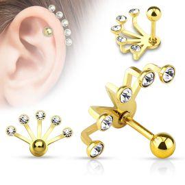 Piercing cartilage éventail cinq strass doré