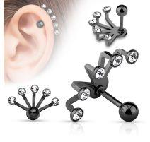 Piercing cartilage éventail cinq strass noir