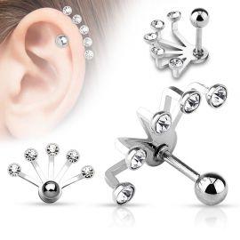 Piercing cartilage éventail cinq strass argenté