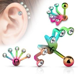 Piercing cartilage éventail cinq strass multicolore