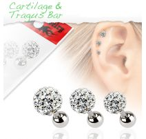 Lot de 3 piercing cartilage cristaux blanc