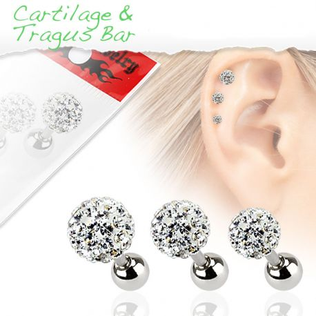Lot de 3 piercing cartilage cristaux blanc