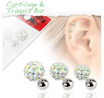 Lot de 3 piercing cartilage cristaux aurore boréale