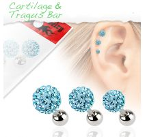 Lot de 3 piercing cartilage cristaux turquoise