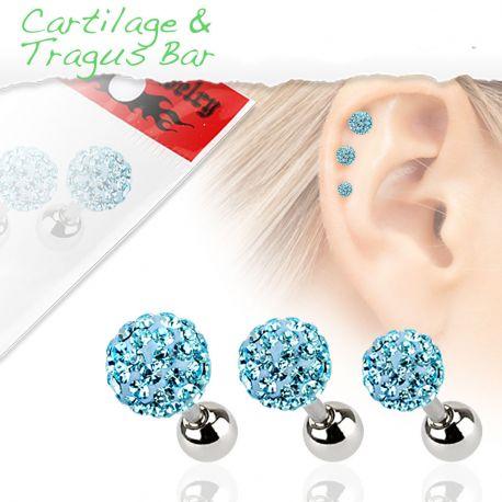 Lot de 3 piercing cartilage cristaux turquoise