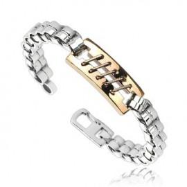 Bracelet acier inoxydable Point de suture Bronze