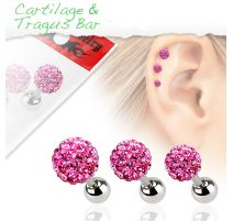Lot de 3 piercing cartilage cristaux rose