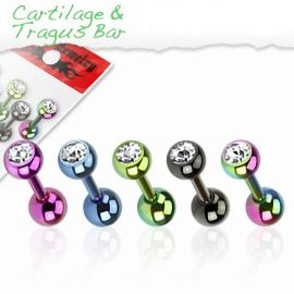 Lot de 5 piercing cartilage titane anodisé strass