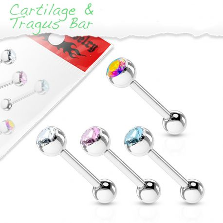 Lot de 4 piercing cartilage acier chirurgical strass