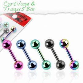 Lot de 5 piercing cartilage titane anodisé