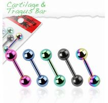 Lot de 5 piercing cartilage titane anodisé
