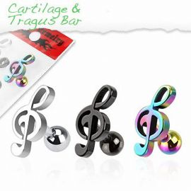Lot de 3 piercing cartilage clef de sol