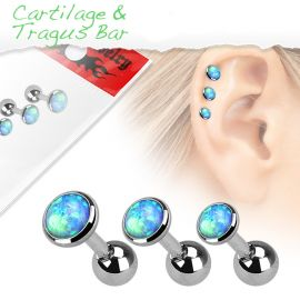 Lot de 3 piercing cartilage opale bleue
