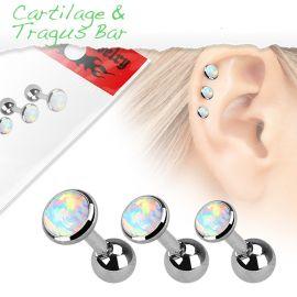 Lot de 3 piercing cartilage opale blanche