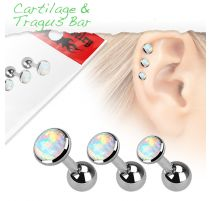 Lot de 3 piercing cartilage opale blanche
