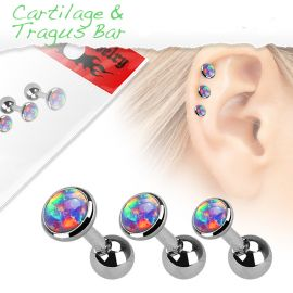 Lot de 3 piercing cartilage opale violette