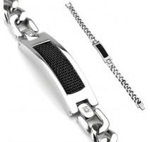 Bracelet acier inoxydable Plaque Noire