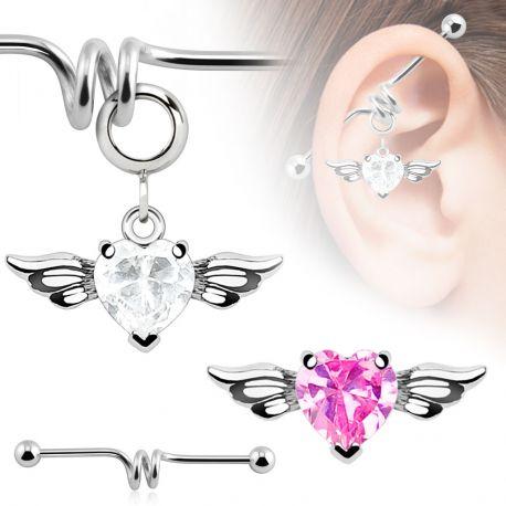 Piercing industriel pendentif cœur ailé strass rose