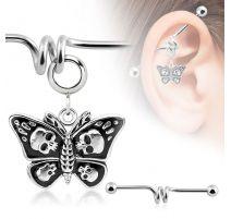 Piercing industriel pendentif papillon avec crânes