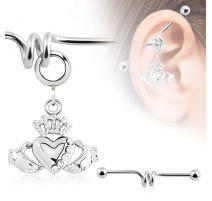 Piercing industriel pendentif claddagh couronne et coeur