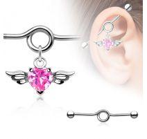 Piercing industriel pendentif cœur ailé rose