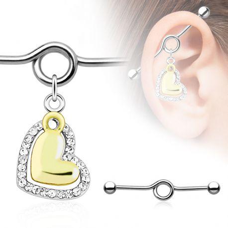 Piercing industriel pendentif cœur doré et gemmes