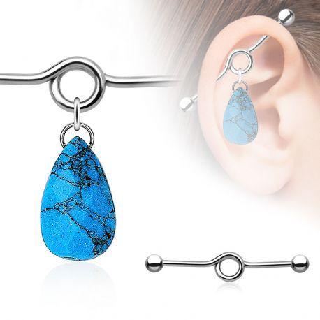 Piercing industriel pendentif larme en turquoise