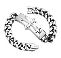 Bracelet acier inoxydable Croix Mediévale
