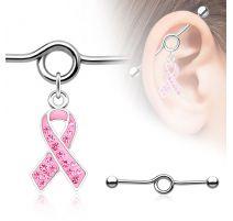 Piercing industriel pendentif ruban rose pavé de strass
