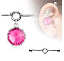 Piercing industriel pendentif large pierre rose