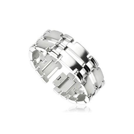 Bracelet acier inoxydable Double Bandes Liens Miroir