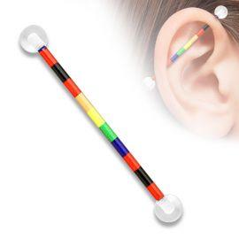 Piercing industriel boules acrylique rainbow