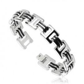 Bracelet acier inoxydable avec doubles liens Caoutchouc