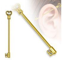 Piercing industriel clef en forme de cœur doré