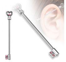 Piercing industriel clef en forme de cœur gemmes roses
