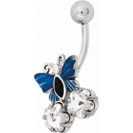 Piercing nombril Swarovski papillon bleu