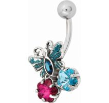Piercing nombril Swarovski papillon multicolore