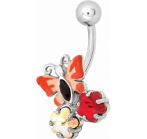 Piercing nombril Swarovski papillon rouge